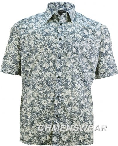 Cotton Valley Short Sleeved Floral Print Shirt- Navy